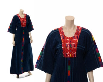 Vintage Huipil Dress, Denim Huipil Dress, 70s Mexican Huipil Caftan, 1970s Oaxacan Embroidered Caftan, Artisan Boho Festival Hippie Dress