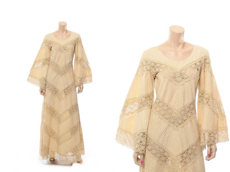 47b25e8f4a3 Vintage 70s Mexican Pintuck Wedding Dress 1970s Dell Originals