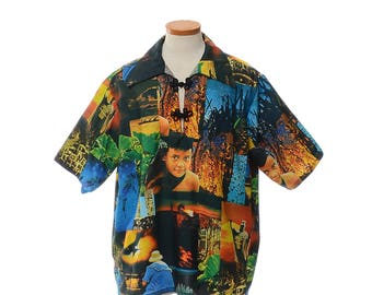 Vintage Hawaiian Shirt, Hawaii Photo Print Shirt, 70s 80s Hawaiian Shirt, Travel Photograph Print Luau Tiki Party Shirt / mens 2X / XXL
