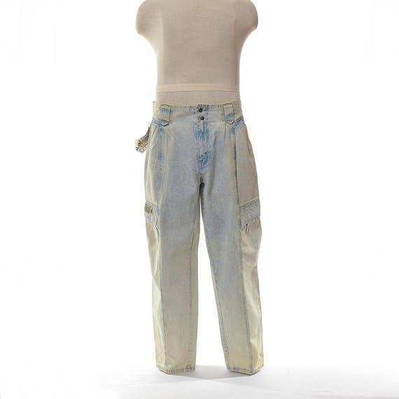 f6b5563ca Vintage 80s 90s Bugle Boy Acid Wash Denim Blue Jeans, Vintage 1980s 1990s  Deadstock High Waist Baggy Pleated Cargo ...