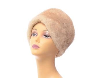 Vintage 60s Natural Blonde Mink Fur Hat Bullock's Wilshire Cossack Winter Holiday Gift
