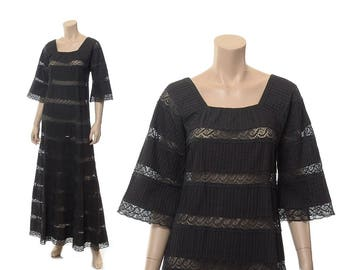 Vintage 70s Black Mexican Crochet Lace Dress 1970s Pintuck Cotton Fiesta Maxi Gown / Small