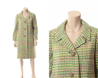 Vintage 60s 70s Mod Wool Tweed Coat 1960s 1970s Atomic Check Pastel Jacket Carnaby Street Princess Jackie O Dress Swing Coat / Medium