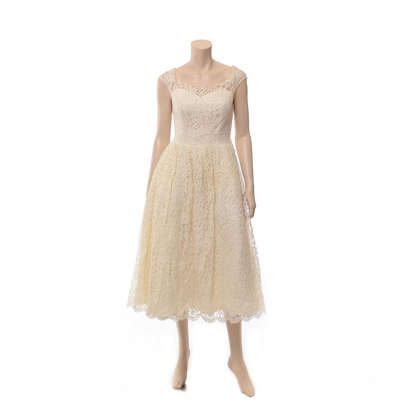50s Ivory Lace Prom Dress Vintage Tea Length Boho Wedding Pin Up size Small