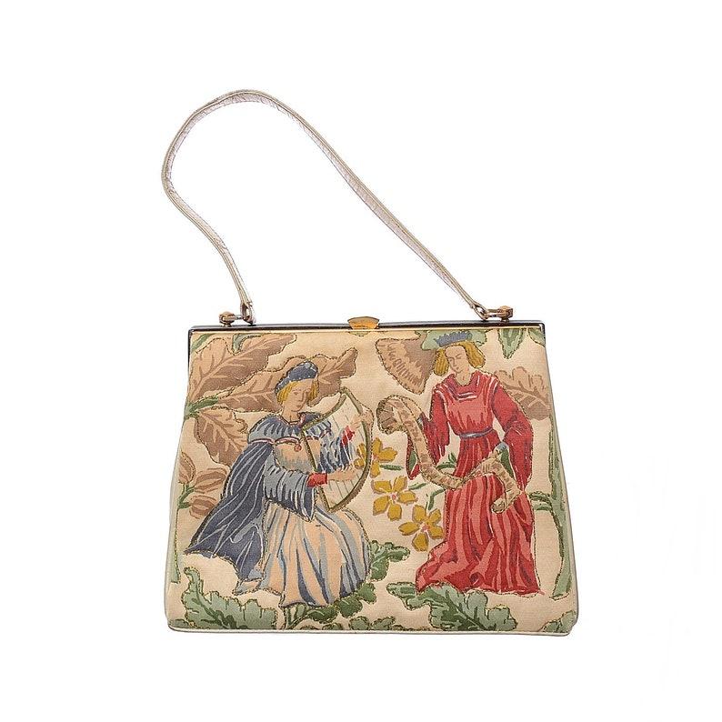 32b01499d6 60s Quilted Medieval Renaissance Handbag Fassbender Rockabilly Satchel Bag  Frame Purse
