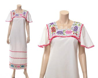 Vintage 70s Mexican Dress, Floral Embroidered Dress, 1970s Boho Lace Festival Hippie Peasant Folk Summer Maxi Dress / size M