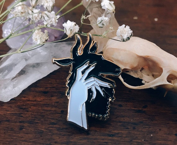 Goat Shadow Puppet Soft Enamel Pin by Etsy
