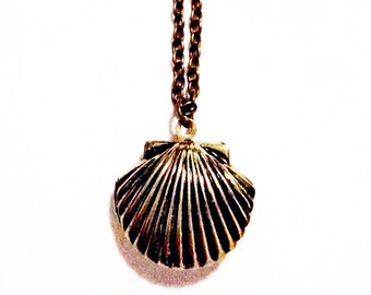 Sea Nymph Antique Bronze Shell Locket