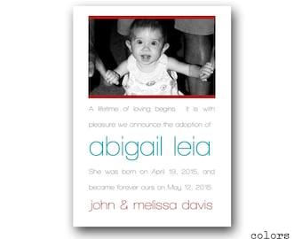 Birth Announcement - Adoption Announcement - Photo - Personalized - Digital
