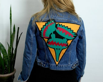 Venus Fly Trap Patch Jacket // Handmade Patch on Small Vintage Guess Jeans Jacket