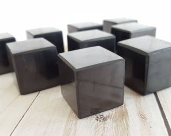 "Single Black Russian Shungite Cube, Polished Shungite, Approximate 1"" Cube, 21-25mm, Sacred Geometry Platonic Solid, Hexahedron, Root Chakra"