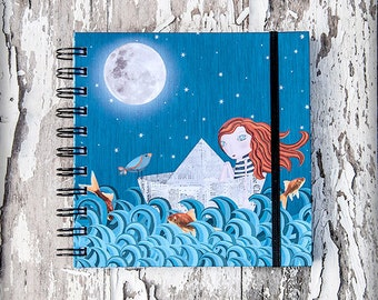 A LA DERIVA... (adrift) printed notebook illustration original gift cute naif redhair moon sea paper boat ship nursery