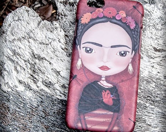 FRIDA KAHLO iphone 3D case 7/7S  6/6S  5/5S  4/4S illustration original gift film art méxico diego rivera flower dragonfly heart artwork