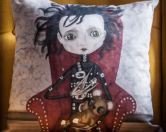 EDUARDO MANOSTIJERAS (Edward Scissorhands) cushion cover illustration original gift cute gothic steampunk cinema film tim burton johnny depp