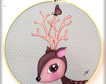 CIERVO (Deer Fawn) printed canvas mounted on circular frame original gift cute naif children nursery butterfly bambi