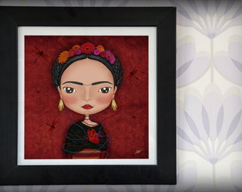 Art print illustration 30x30cms FRIDA KAHLO red México heart artist dragonfly flowers diego rivera beautiful