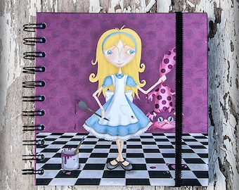 MALICIA (Malice) printed notebook illustration original gift gothic steampunk fairy tale different alice wonderland film tim burton nursery