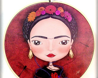 FRIDA KAHLO printed canvas mounted on circular frame original gift cute Mexico dragonfly heart artist Diego Rivera flowers