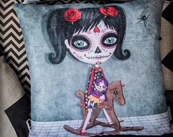 NIÑA KATRINA cushion cover illustration original gift cute gothic steampunk sugar skull girl