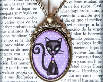 GATO  (cat) cameo pendant necklace illustration original gift steampunk gothic art design drawing animal
