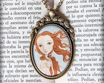 VENUS cameo pendant necklace illustration original gift art design drawing redhead paper boat