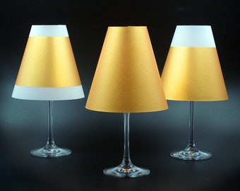 POETRY LIGHT- 3 golden wine glass lampshades made of parchment for tea or LED lights
