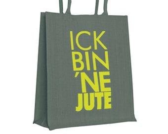 """Jute bag """"ick bin ne jute"""", Berlin souvenir made of 100% natural jute, colorfully printed"""