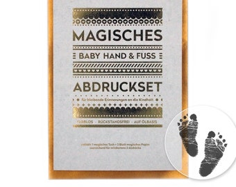 Baby Hand and Foot ABDRUCKSET - Inkless Touch: no colour, without plaster, directly on coated paper (4 sheets) - Format A5