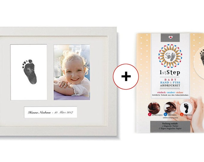 BABY FOTO FRAME · including magic imprint set · real wood frame