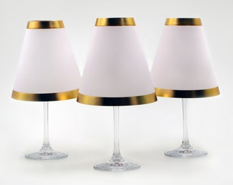 3 pcs. WEINGLAS LAMPENSCHIRME with gold rim made of parchment for plugging together