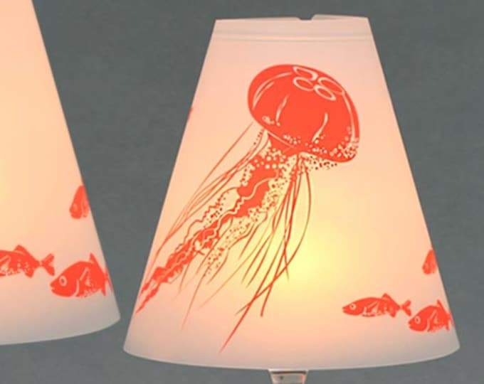 HELENE AM MEER · 3 Wine Glass Lampshades made of Parchment · Pressure: neon organge