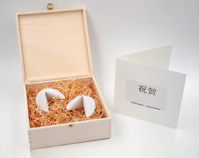 Wedding set two porcelain fortune cookies large