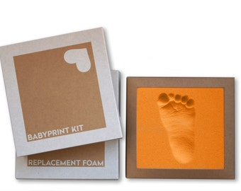 BABYPRINT Kit · Baby keepsake footprint kit · just press foot into foam, that's it! (no clay, no mess)