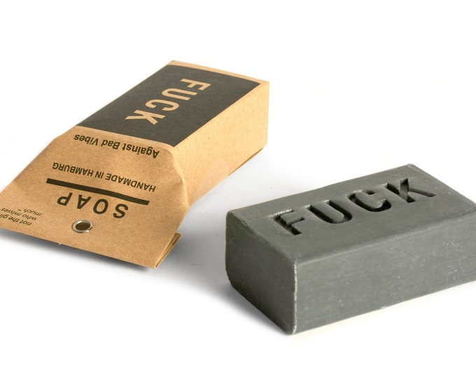 "vegan palmoil free natural soap to wash away difficult times ""F U C K"". Against bad vibes"