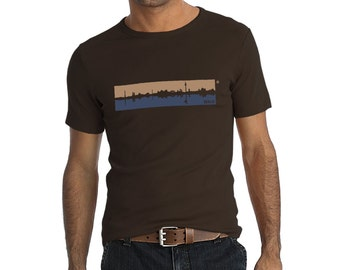 T-Shirt Berlin skyline brown and blue, 100% thick cotton, Fair wear certificated