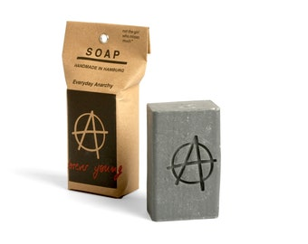 "vegan palmoil free natural soap to wash away difficult times ""ANARCHY"". Against bad vibes"