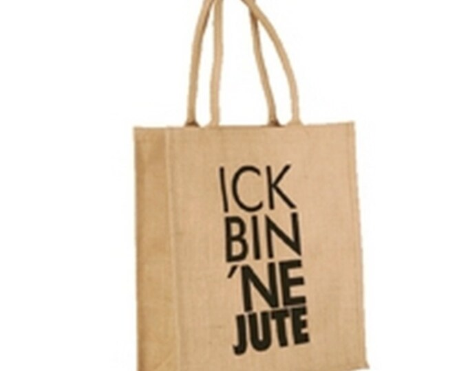 """Jute Bag """"ick bin ne Jute"""" blue/Neon"""