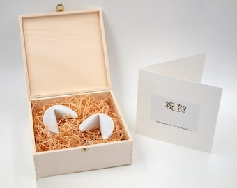 Wedding set two porcelain fortune cookies in woodenbox with messages of happiness