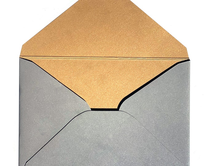 gold inside silver LETTER ENVELOPE format B5 with twist closure, 500g very stable fine cardboard