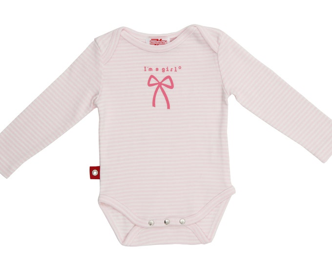 Long Sleeve Baby Bodyi'M A GIRL Striped / Cuddly Soft, Solid Cotton / for Newborn
