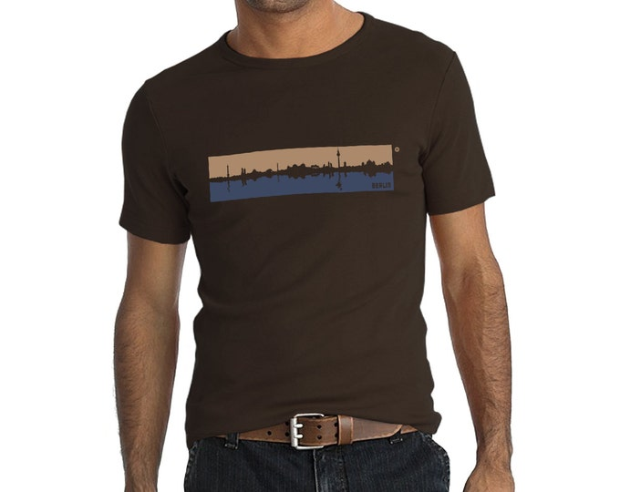 T-Shirt Berlin skyline brown and blue, 100% thick cotton, Fair wear certificated