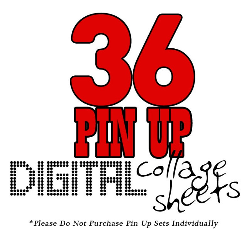 Pin Up Girls Digital Collage Sheets SALE Clip Art for Scrapbooking iron on transfer paper crafts atc aceo