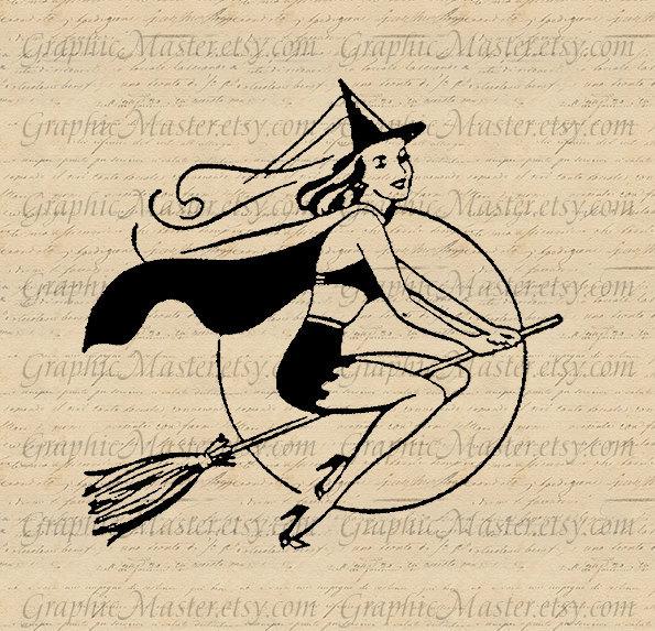 Halloween Pin Up Witch JPG Broom Digital Collage Sheet