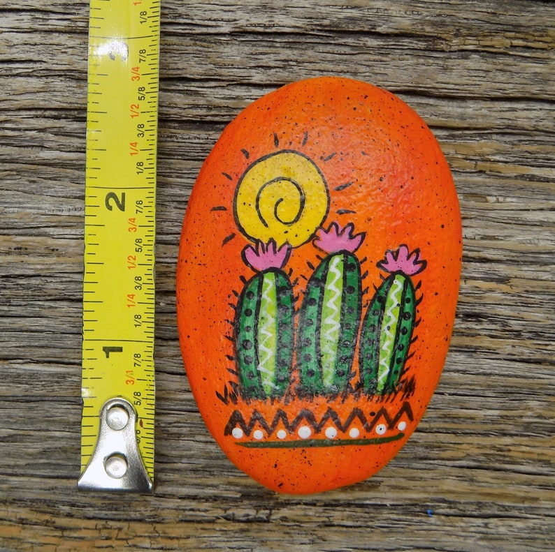 Abstract Cactus Painted Rock Desert Scene Decorative Accent Stone