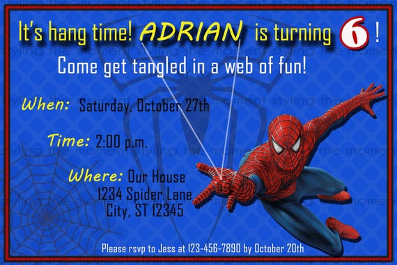 Spiderman printable birthday invitation filmwisefo
