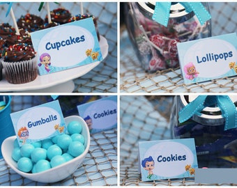 Bubble Guppies Tent Cards Food Labels- Instant Download