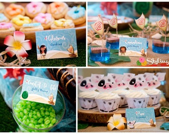 Moana Inspired Tent Cards Food Labels