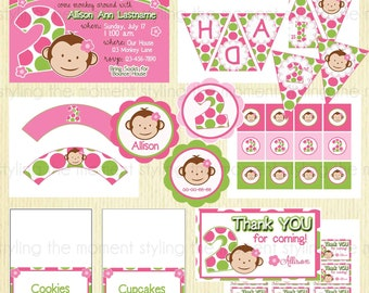 Pink Mod Monkey Birthday Printable Set