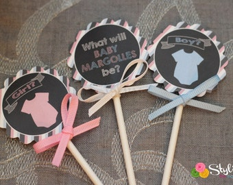 Gender Reveal Cupcake Toppers Gift Tags