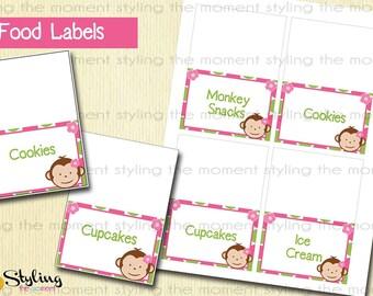 Pink Mod Money Food Labels - Instant Download